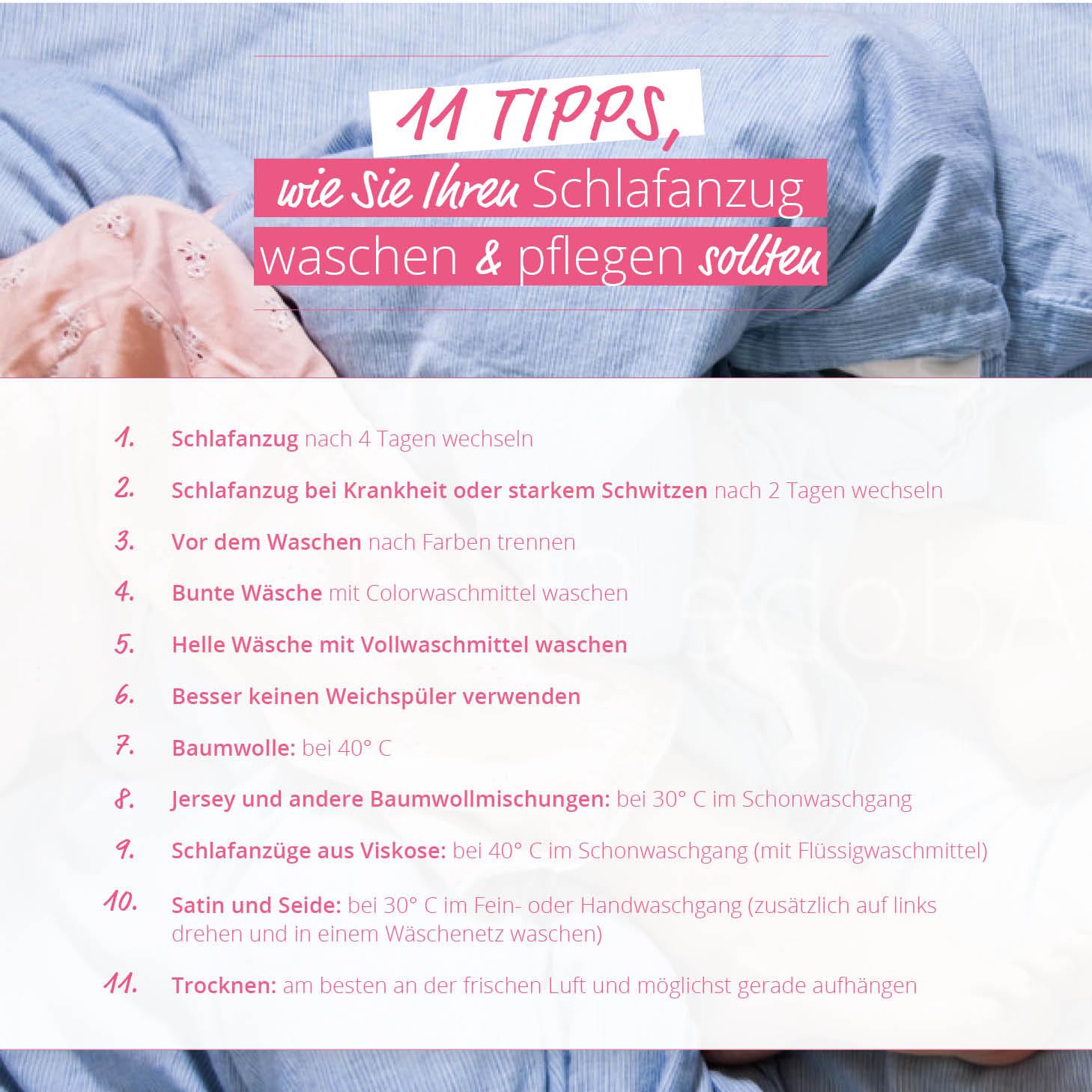 11 Tipps - Pflege Schlafanzug