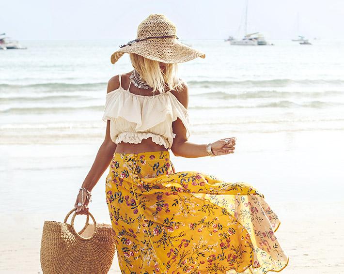 Strandmode Hut und Rock